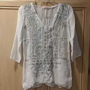 Johnny was white blue embroidered v-neck blouse xs
